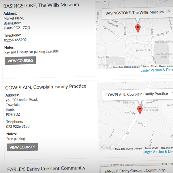 Venues can be easily added and updated via the CMS