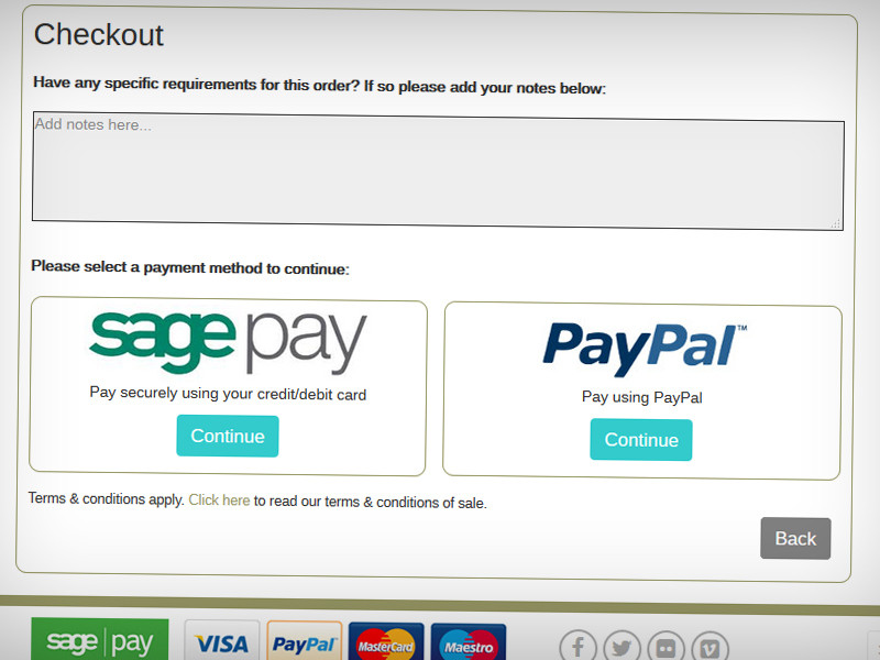 Users can pay using SagePay or PayPal