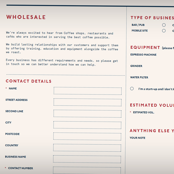 The wholesale contact form allows businesses to easily get in touch