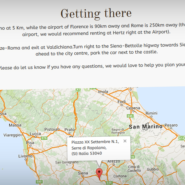 Users can find the venue location via an embedded Google Maps