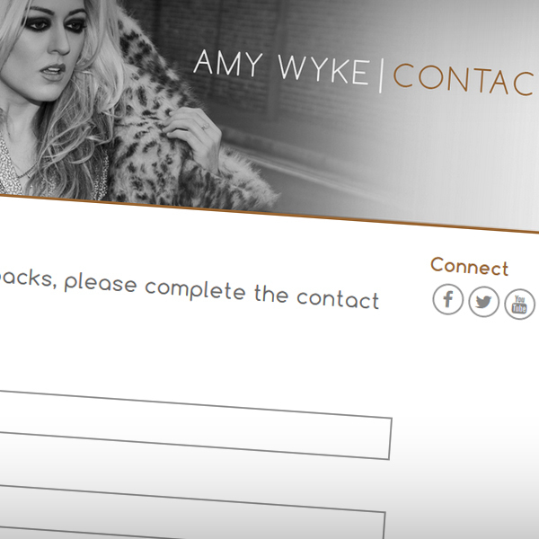 Contact page with links to Amy's social networks