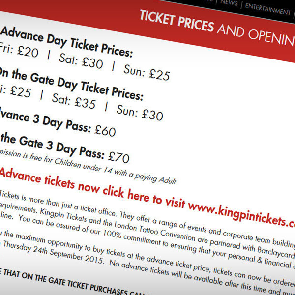 Ticket information page, with a link to the KingPin Tickets website