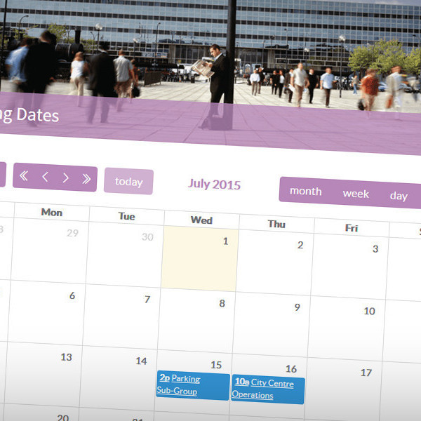 Meeting dates are displayed via a custom calendar
