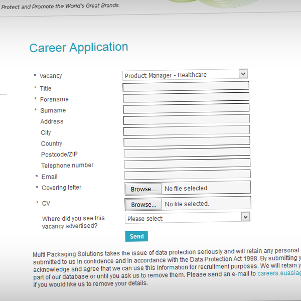 Candidates can apply for a job via a simple online form