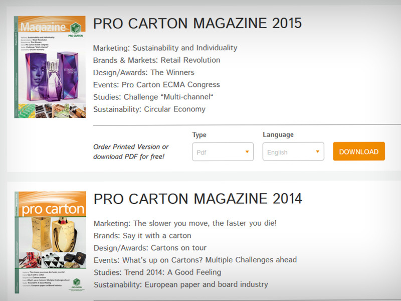 Users can download the latest PDF versions of the Pro Carton magazine