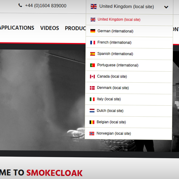 Dropdown available to switch to a localised SmokeCloak website