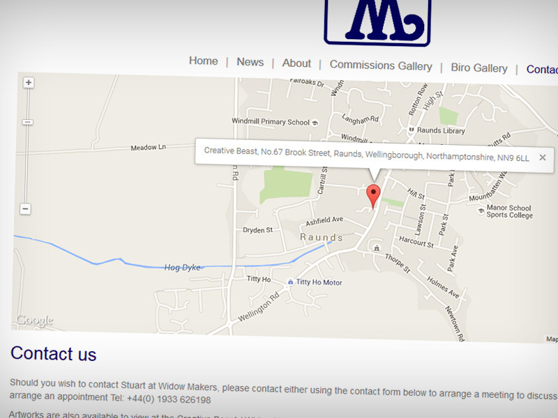Contact page with embedded Google Map and enquiry form